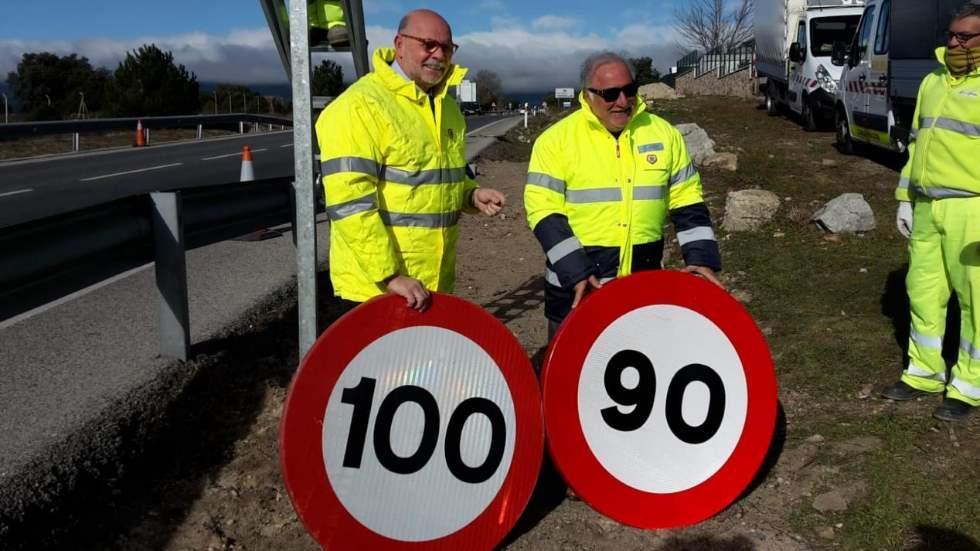 ¿Cuánto ha costado cambiar las señales de límite de velocidad de 100 a 90 km/h?