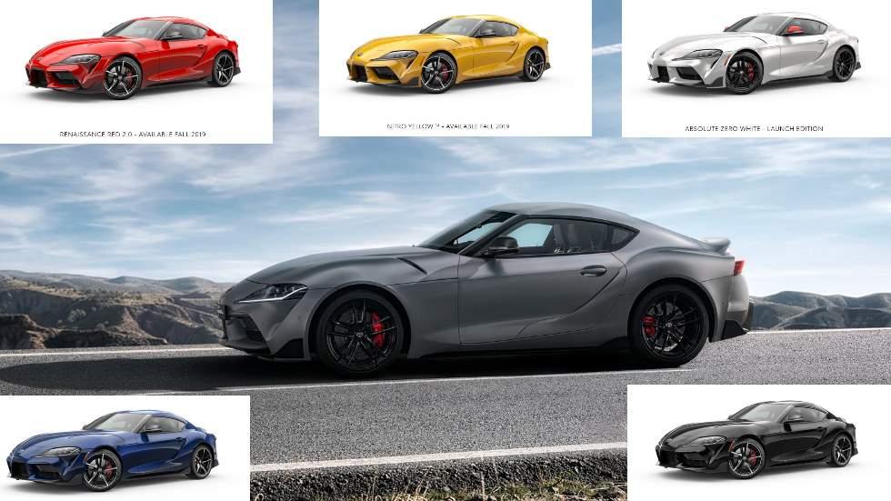 Toyota Supra 2019: desvelados los colores del nuevo deportivo, ¿con cuál te quedas?