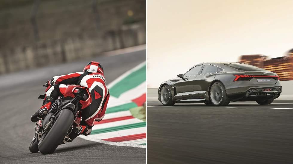 Audi e-tron GT vs Ducati Panigale V4 R: adrenalina en cuatro y dos ruedas