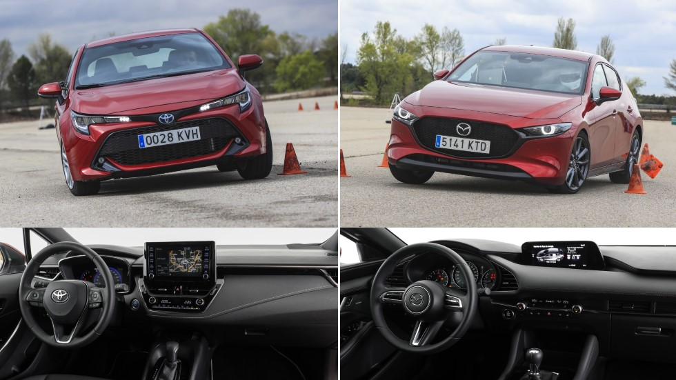Mazda 3 Skyactiv-G 2.0 vs Toyota Corolla 125H: ¿qué compacto es mejor? ¿Gasolina o híbrido?