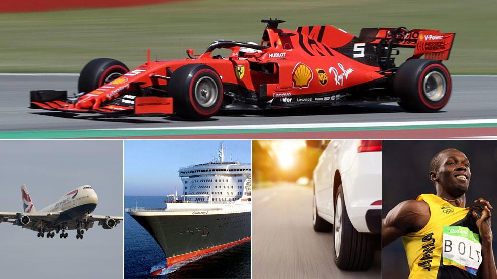 Vettel contra un avión, un barco y Usain Bolt en Montmeló, ¿quién es más veloz?