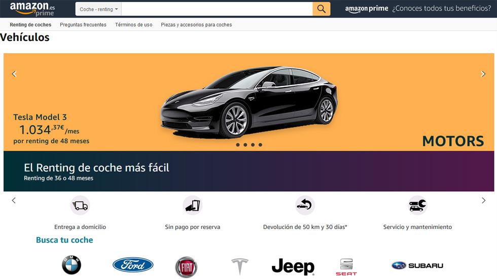 Amazon Motors: la compañía lanza un renting de coches con Tesla, Ford, Seat, Fiat, BMW…