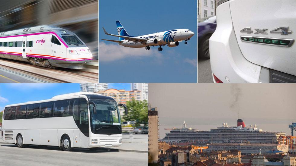 ¿Qué medio de transporte contamina más? Coche, autobús, avión, barco…