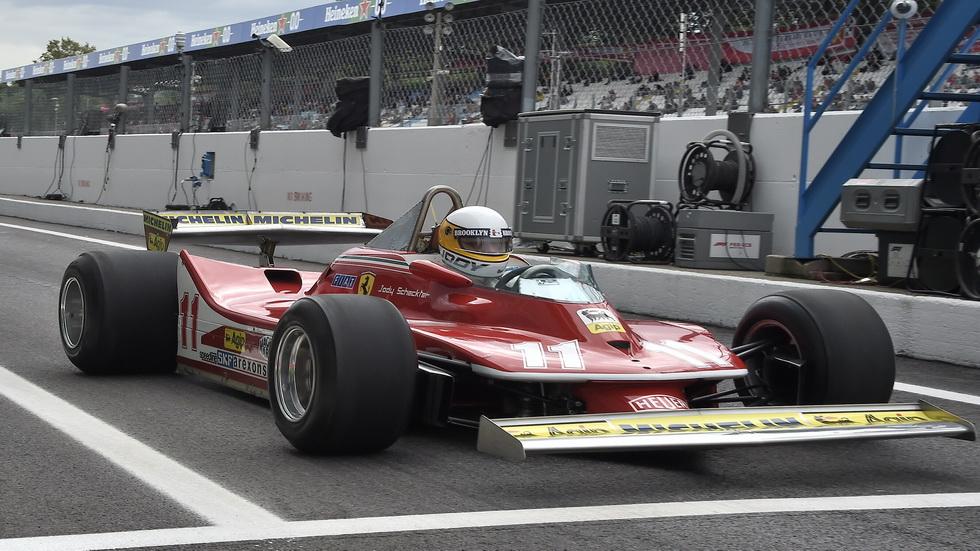 GP de Italia de F1: Jody Scheckter rueda en Monza con el Ferrari 312 T4