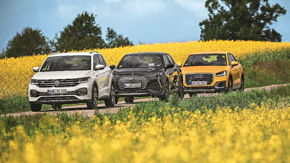 Audi Q2, DS 3 Crossback y VW T-Cross: qué SUV pequeño de gasolina es mejor