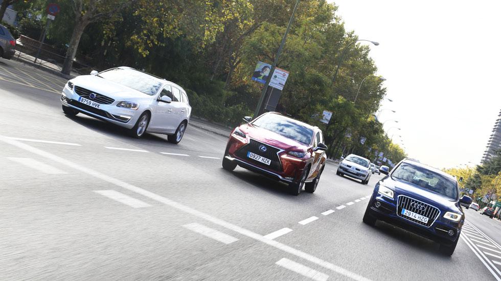 Comparativa: Audi Q5 Hybrid vs Lexus NX 300h y Volvo V60 Plug-in Hybrid