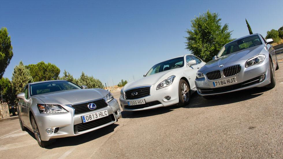 BMW ActiveHybrid 5 vs Infiniti M35h y Lexus GS 450h