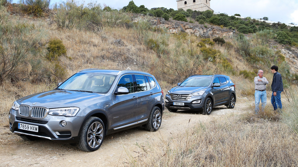 Comparativa: BMW X3 xDrive20d vs Hyundai Santa Fe 2.2 CRDi 4x4