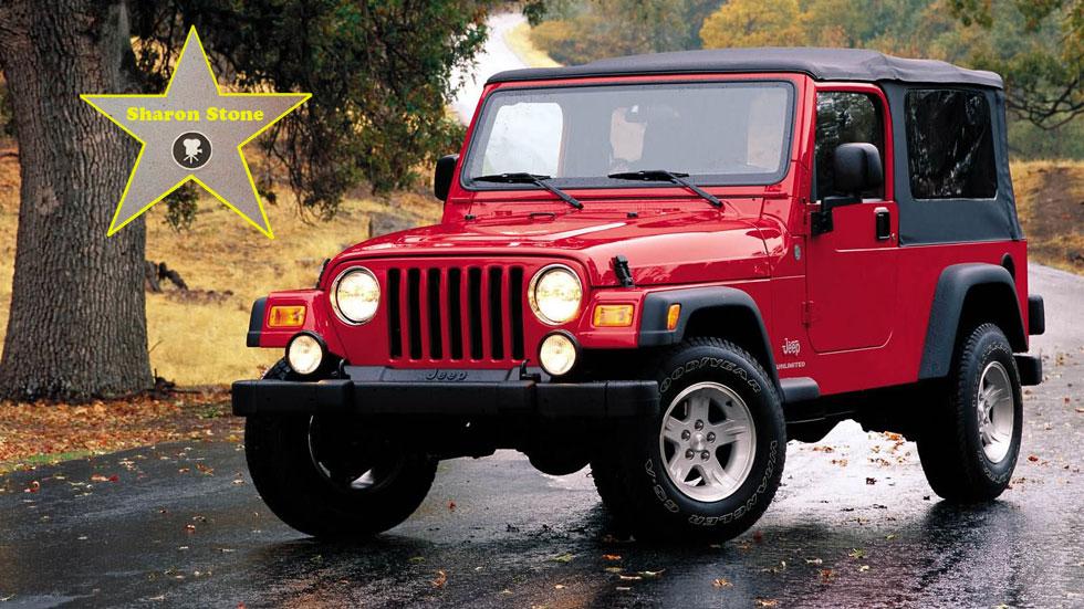 el primer coche de los famosos sharon stone jeep wrangler noticias. Black Bedroom Furniture Sets. Home Design Ideas
