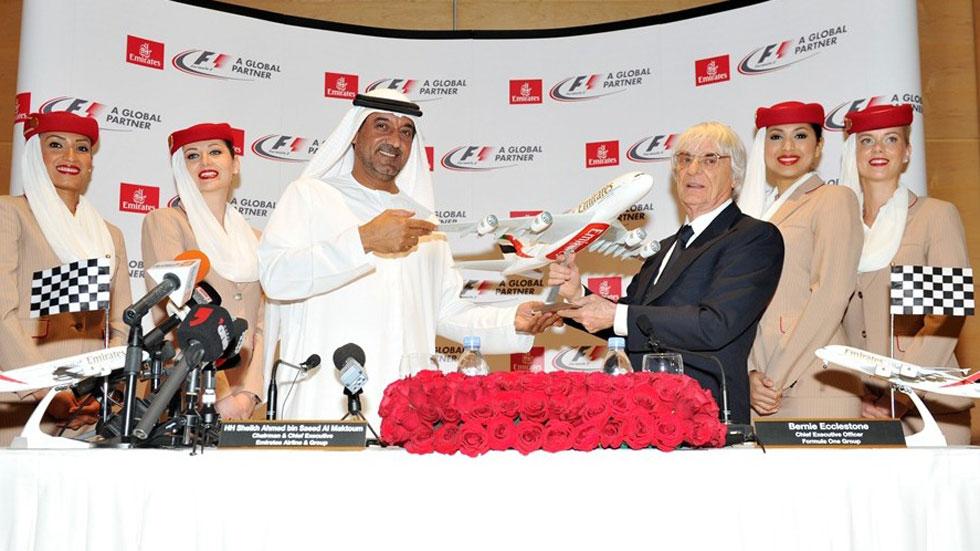 Emirates Airlines, socio global de la F-1 por cinco años