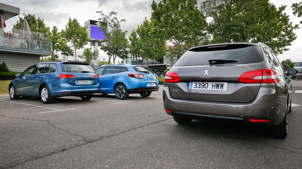 Comparativa: Peugeot 308 SW 1.6 e-HDi vs Renault Mégane Sport Tourer 1.6 dCi y VW Golf Variant 1.6 TDi