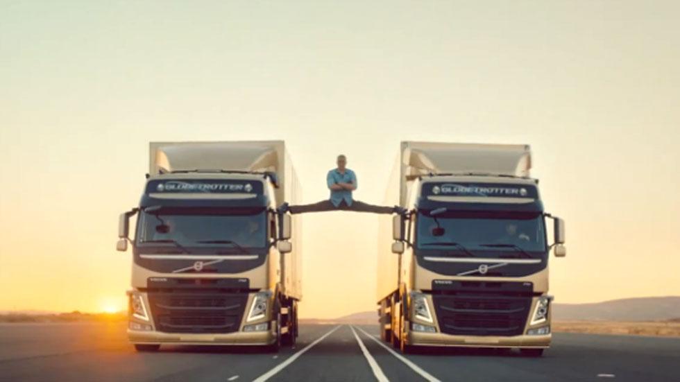Vídeo: Van Damme se abre de piernas sobre dos camiones de Volvo