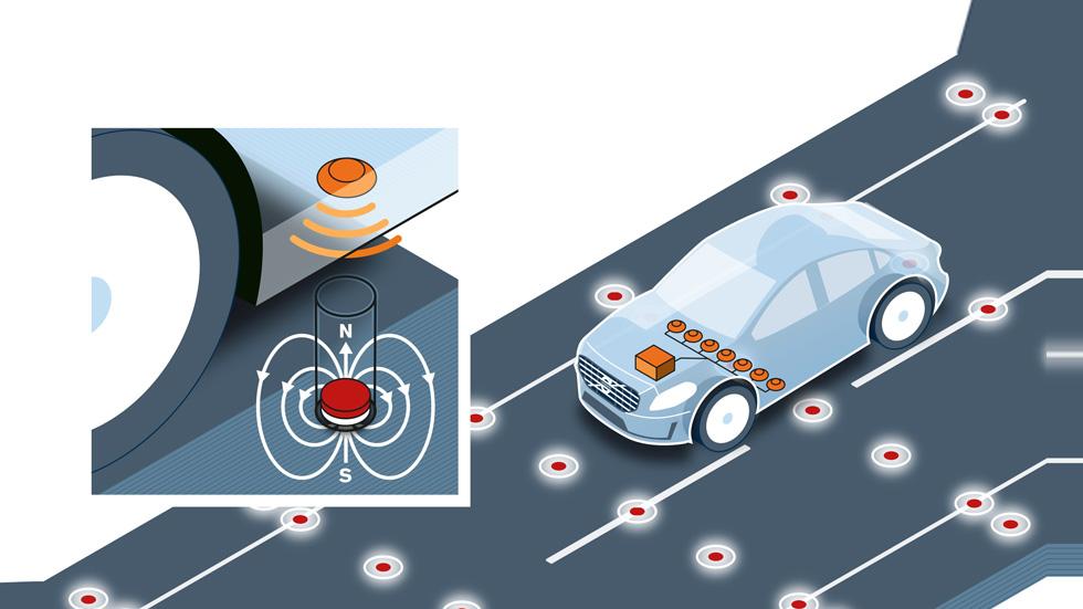 Volvo y su sistema de imanes en la carretera para la conducción autónoma