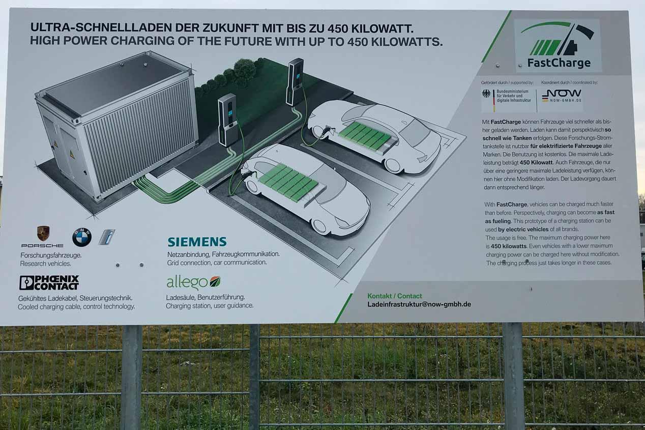 FastCharge, de BMW y Porsche, ensayan recargas eléctricas en minutos, a 450 kW