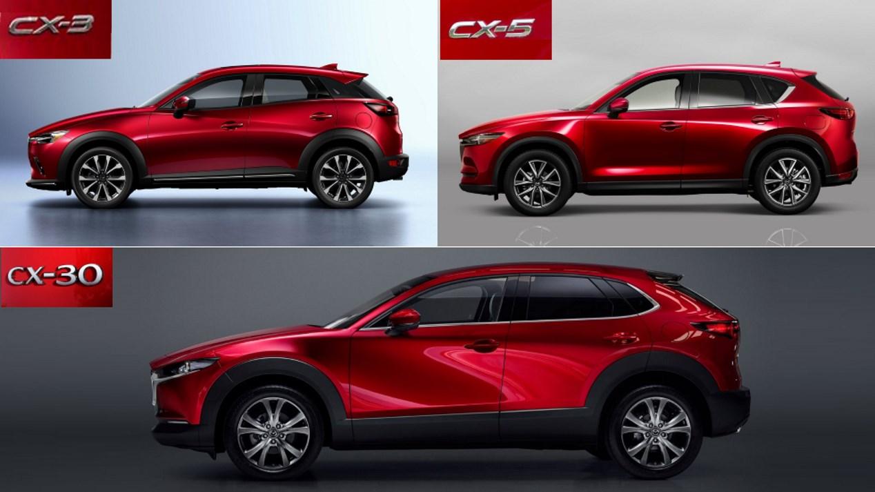 Mazda CX-30 vs CX-3 vs CX-5: los tres SUV, frente a frente