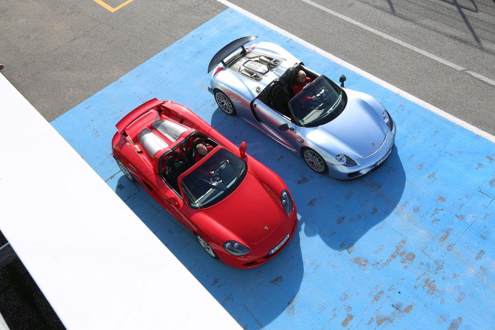 comparativa porsche 918 spyder vs carrera gt fuera de serie pruebas de coches. Black Bedroom Furniture Sets. Home Design Ideas