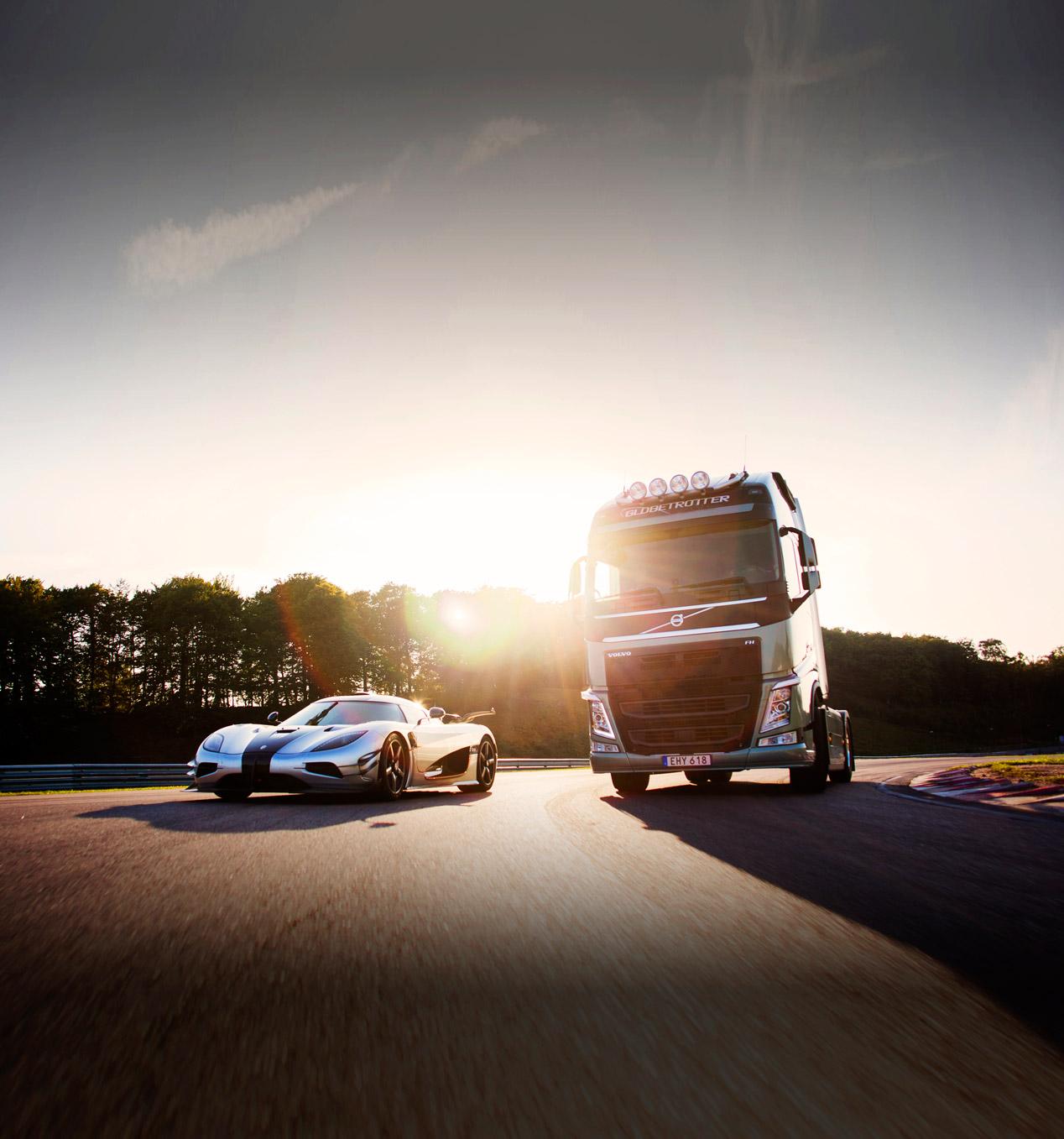 Una carrera única: camión Volvo FH vs Koenigsegg One:1