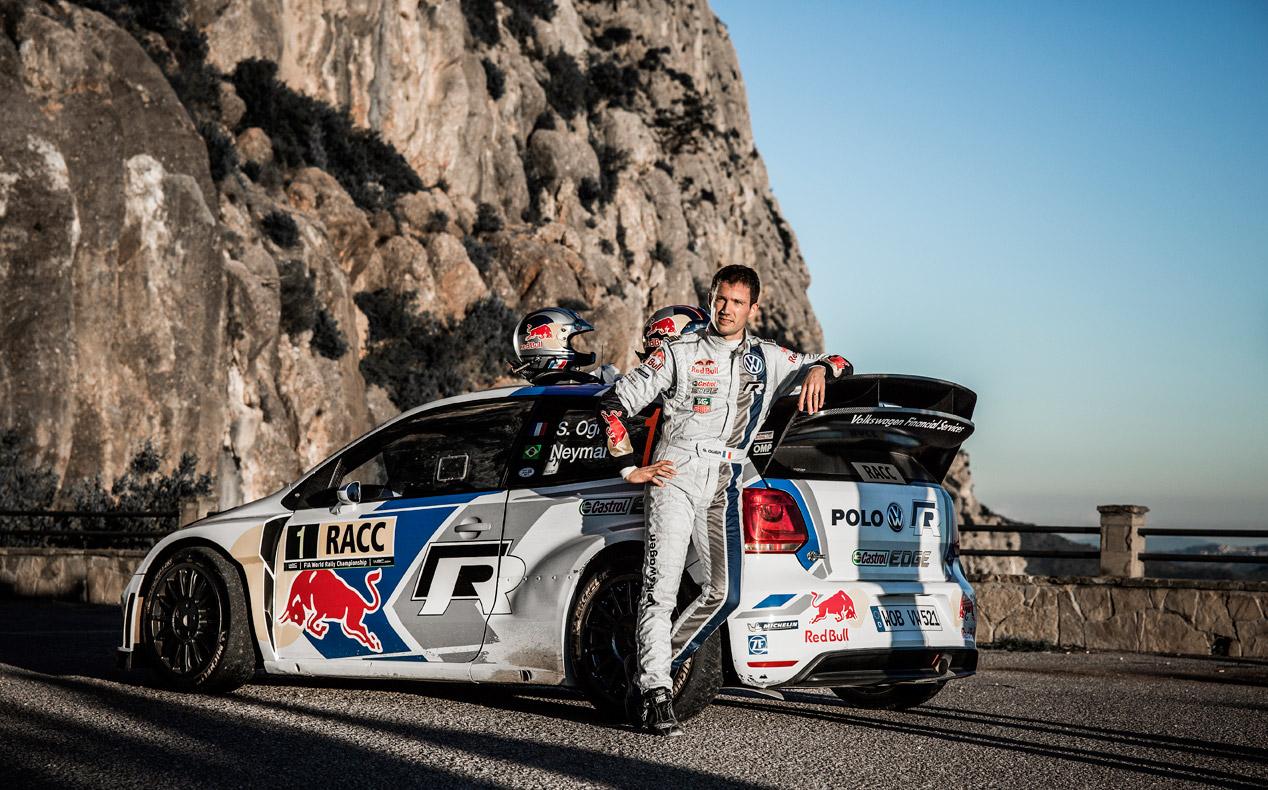 Neymar Jr. y Sébastien Ogier, juntos con el VW Polo WRC