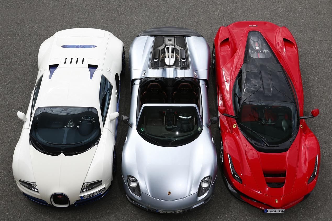 Comparativa: Bugatti Veyron Super Sport vs Ferrari LaFerrari y Porsche 918 Spyder, trío de ases