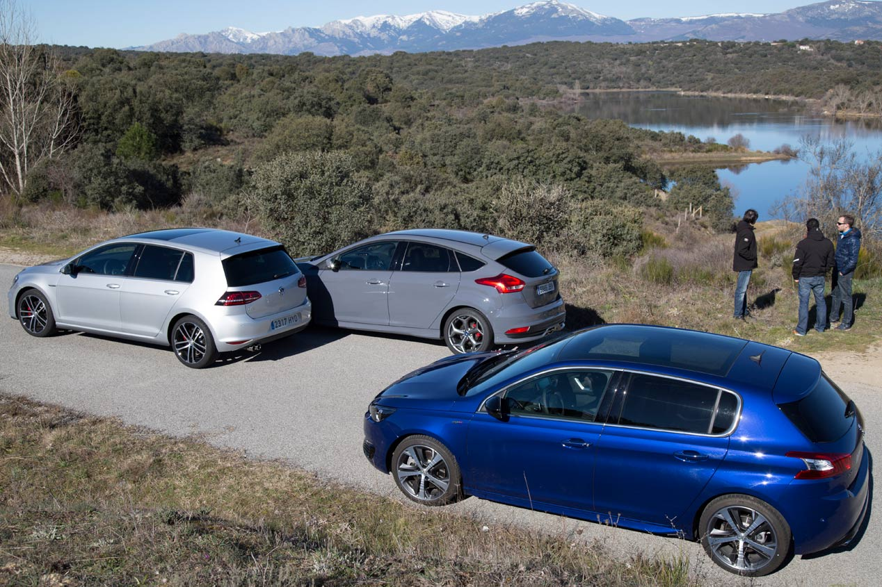Comparativa: Ford Focus ST 2.0 TDCi vs Peugeot 308 GT BlueHDi 180 y Volkswagen Golf GTD