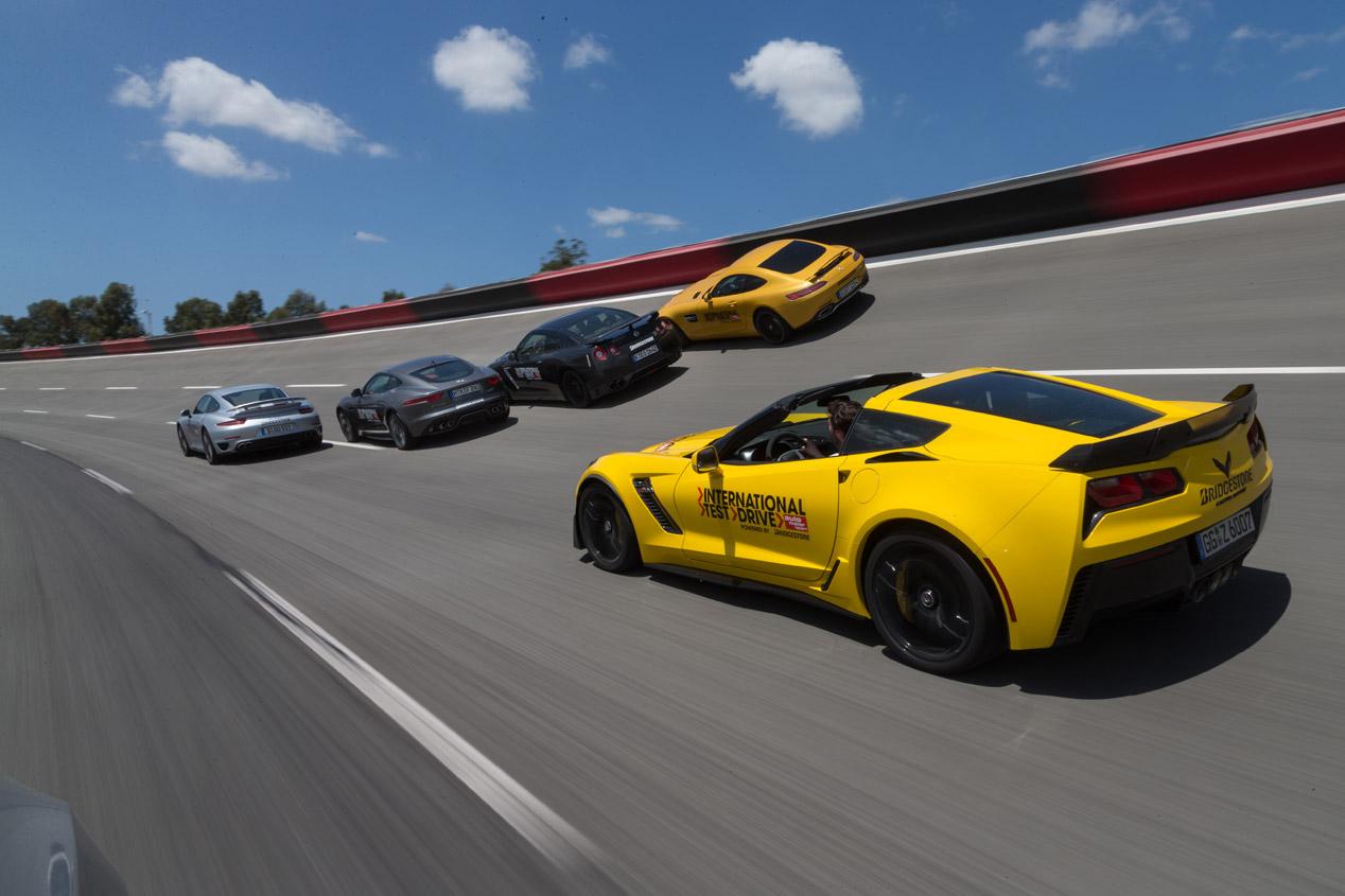 Chevrolet Corvette Z07 contra Jaguar F-Type R AWD, Mercedes AMG GTS, Nissan GT-R y Porsche 911 Turbo