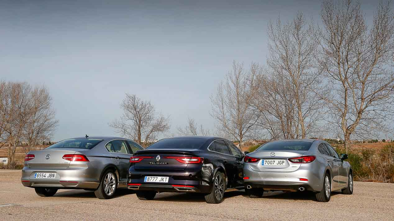 Comparativa: Mazda 6 2.2D, Renault Talisman 1.6 dCi y VW Passat 2.0 TDI