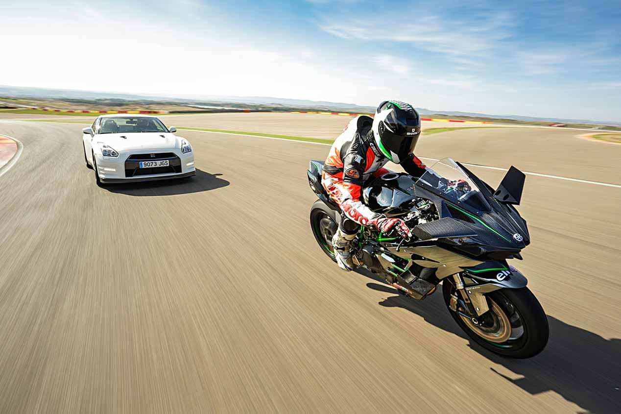 Nissan GT-R Track Edition vs Kawasaki Ninja H2R