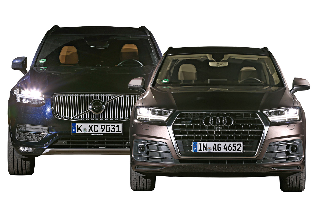 Audi Q7 con Matrix LED, frente a Volvo XC90 con faros LED