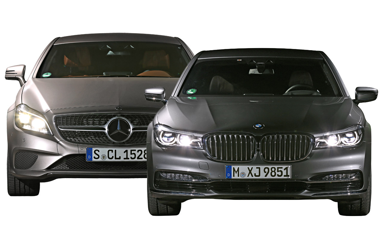BMW Serie 7 con láser LED, frente a Mercedes CLS con Matrix LED