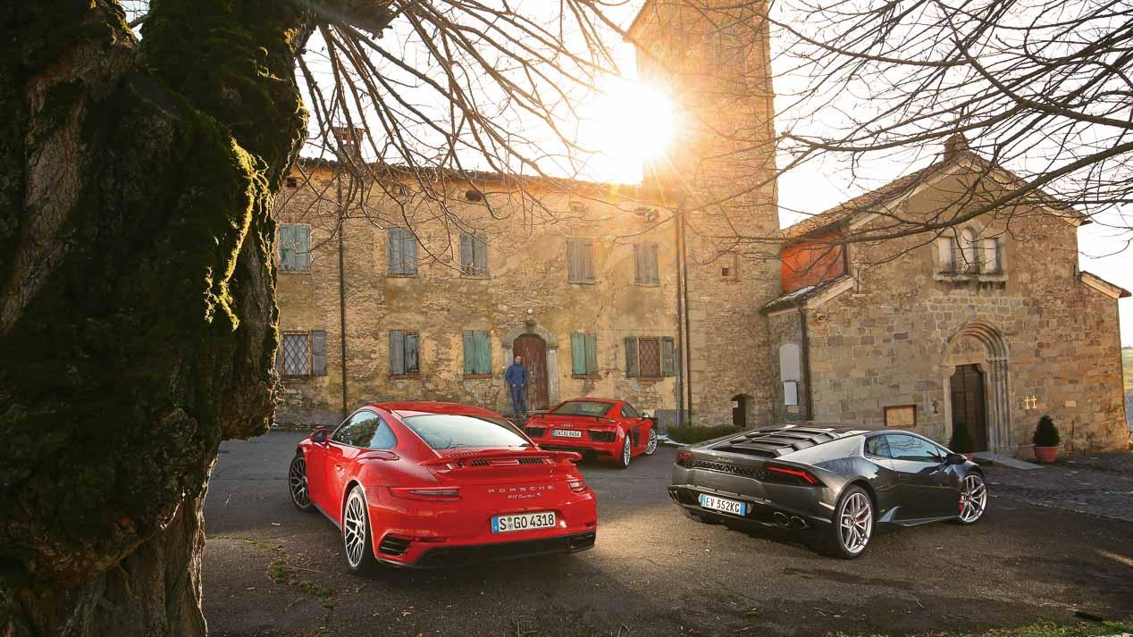 Porsche 911 Turbo S, Lamborghini Huracan V10 y Audi R8 V10 Plus