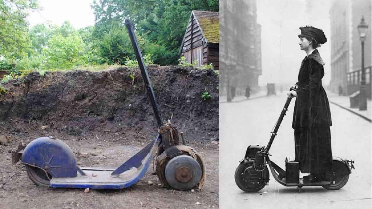 El primer patinete con motor de la Historia tiene más de un siglo