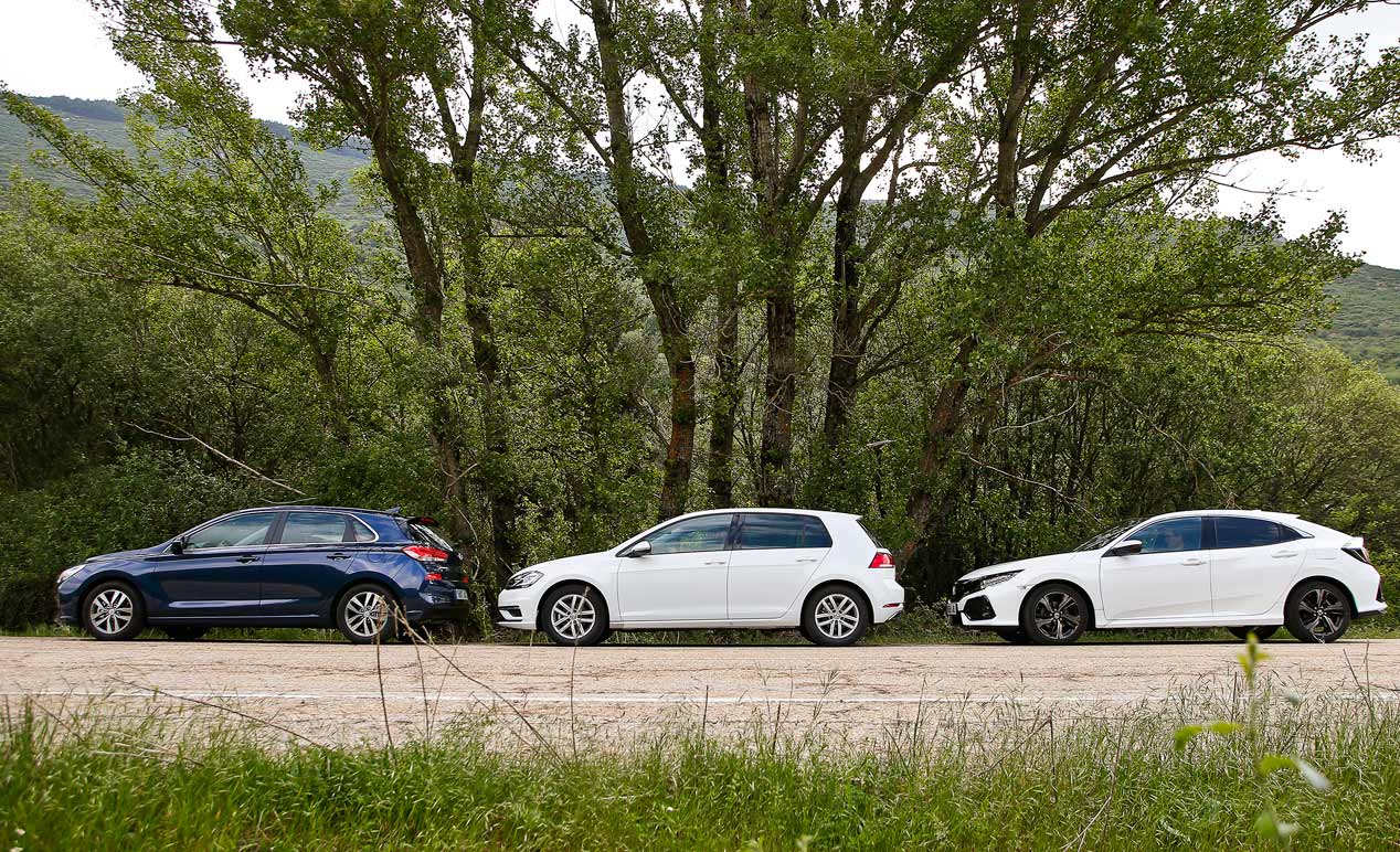 VW Golf, Hyundai i30 y Honda Civic