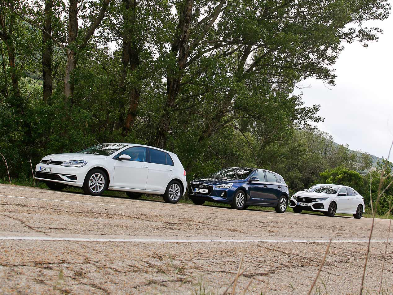 VW Golf, Hyundai i30 y Honda Civic, a prueba