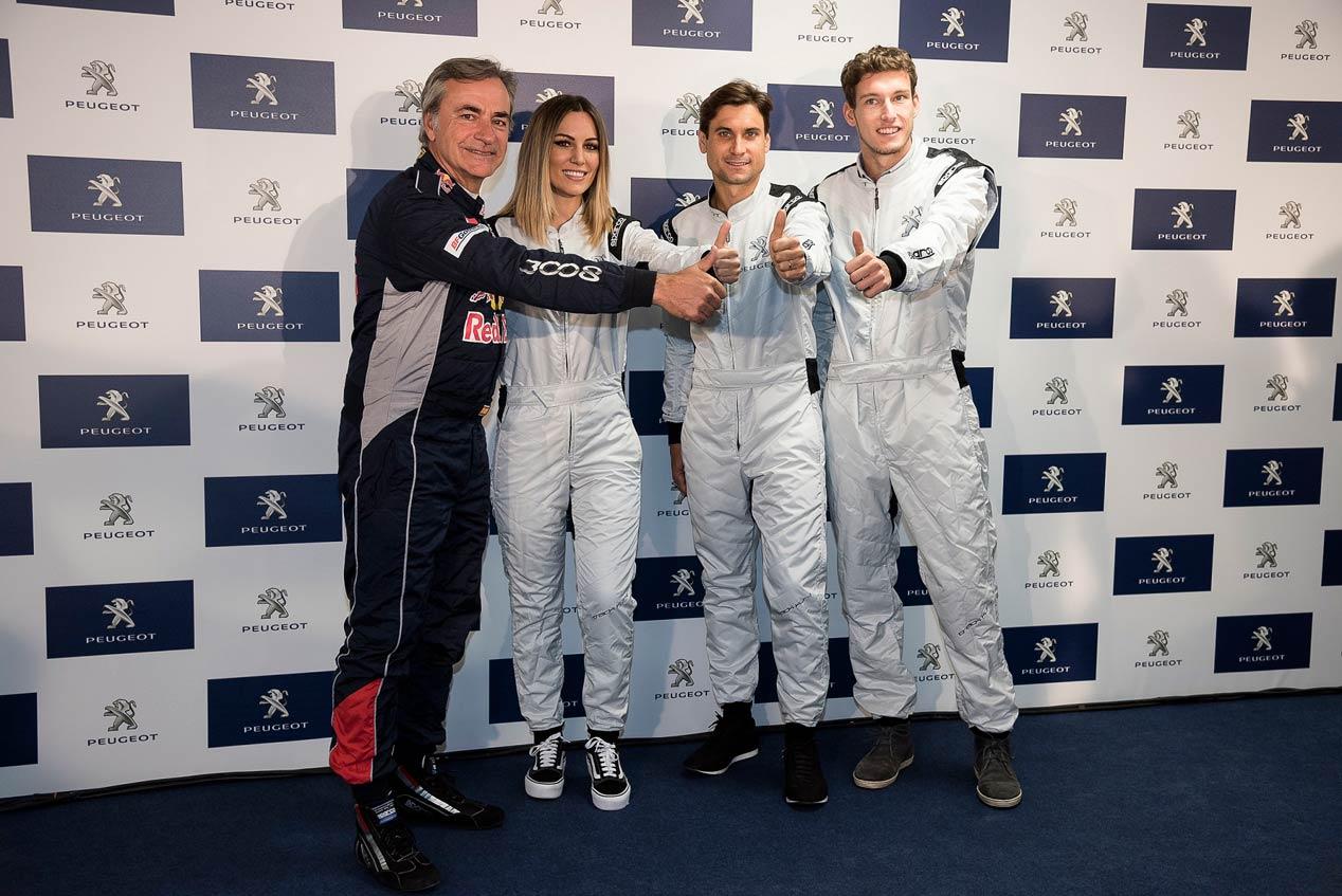 Carlos Sainz, Edurne, David Ferrer y Pablo Carreño, con el Peugeot 308 GTI
