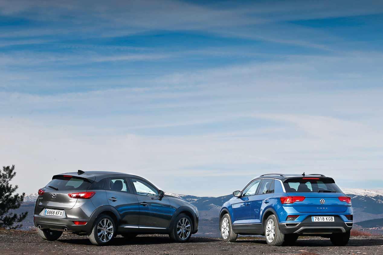 A prueba el VW T-Roc y el Mazda CX-3