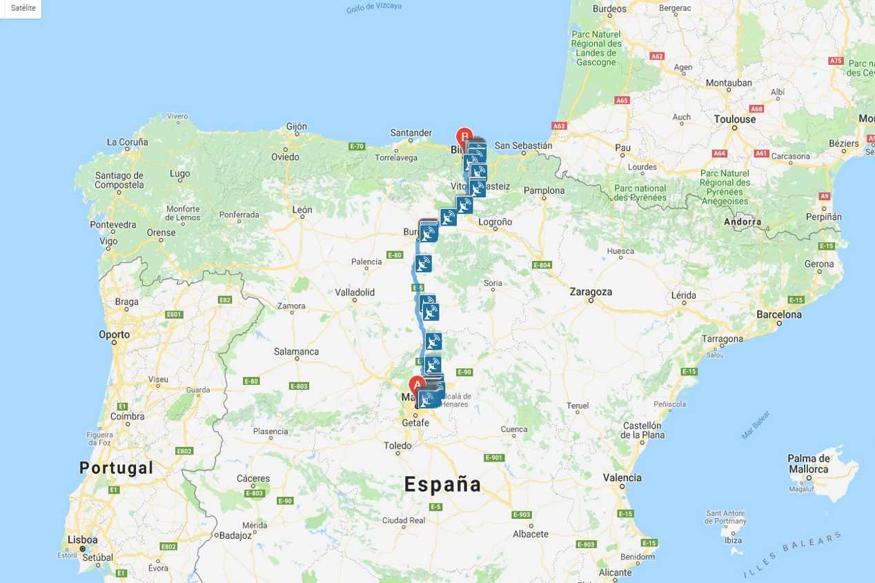 Calcula la ruta y el itinerario de tus viajes