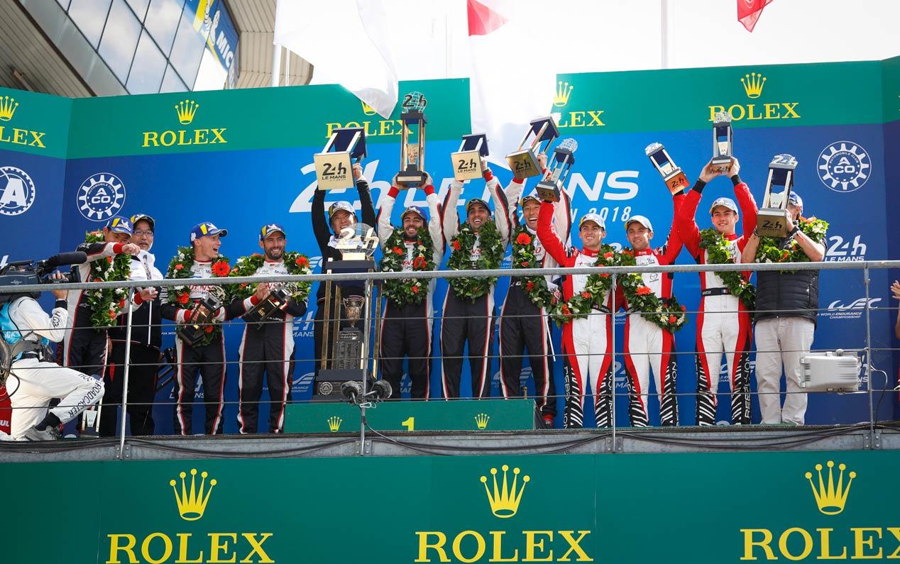 La celebración de Toyota y Alonso en Le Mans