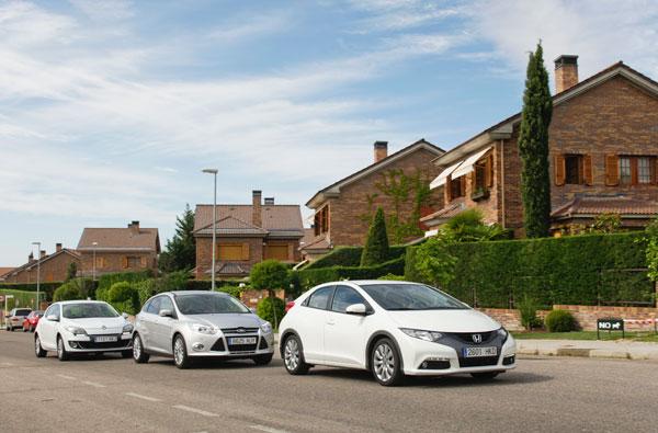 Ford Focus 1.0 Ecoboost vs Honda Civic 1.4 i-VTEC y Renault Mégane 1.2 Tce