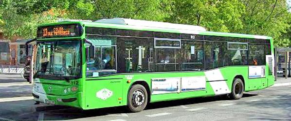 Autobuses y camiones nuevos, con luz de día