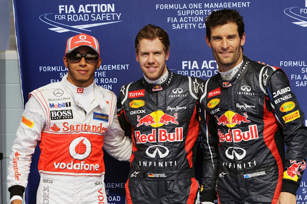 Hamilton (2º) y Webber (3º) acompañarán a Vettel al frente de la parrilla de Bahrein