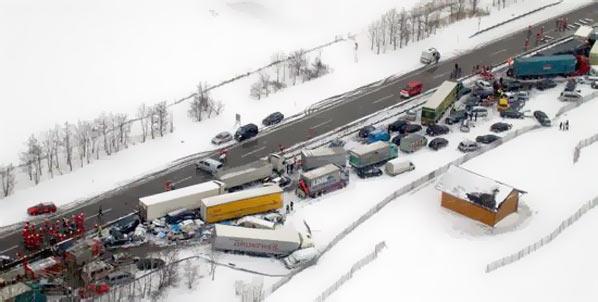 Espectacular accidente múltiple en Austria