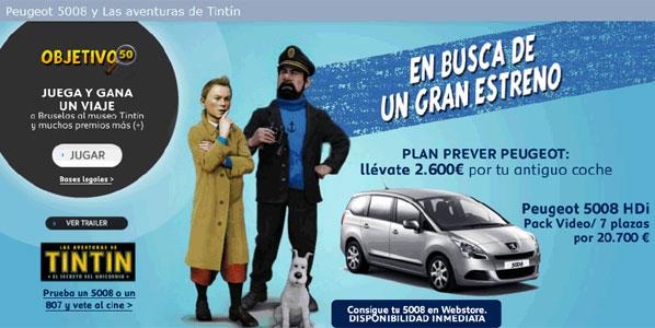 Vive las aventuras de Tintín con Peugeot