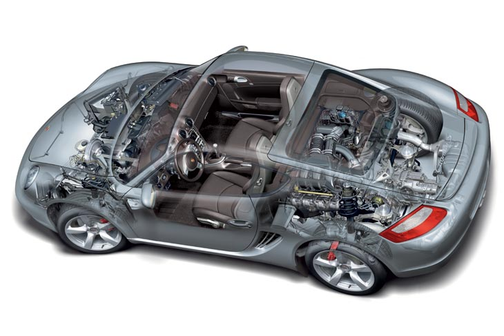 Motor posterior boxer de 6 cilindros, caja manual de 6 velocidades y tracción trasera configuran la personalidad mecánica del Cayman S.