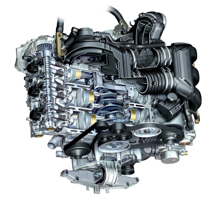 Motor boxer de 3,4 litros, capaz de desarrollar 295 CV de potencia y llevar al Cayman S hasta los 275 km/h.