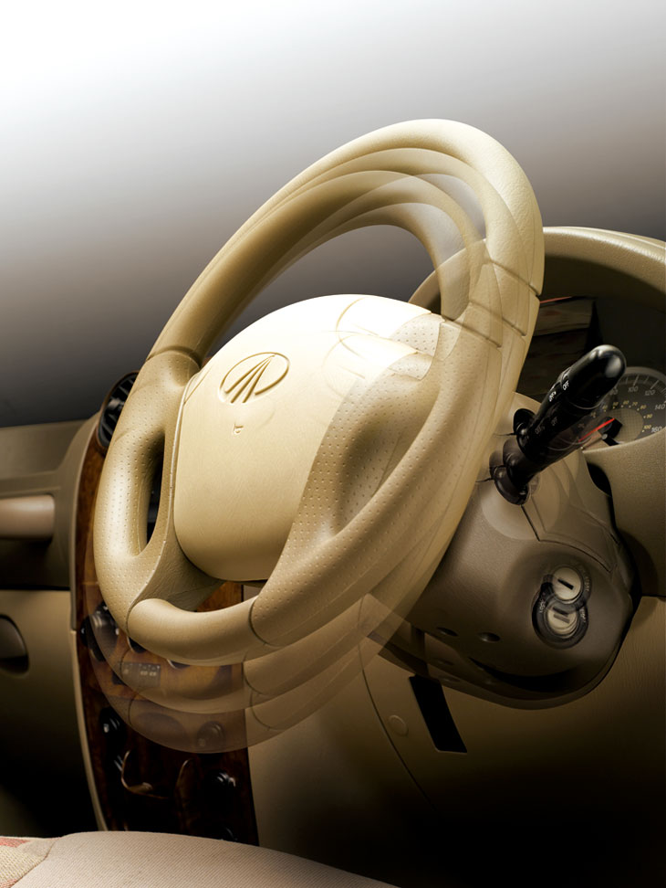 Detalle del volante. El diámetro de giro del Goa es aceptable.