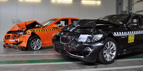 Menos daños con el sistema de pre-colisión de un BMW Serie 5