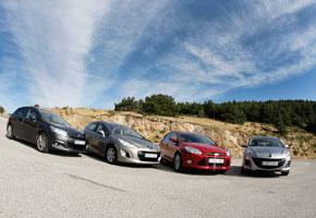 Citroën C4 1.6 e-HDi CMP vs Ford Focus 1.6 TDCi, Mazda3 1.6 CRTD y Peugeot 308 1.6 e.HDi CMP