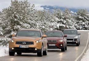 BMW X6 XDrive 5.0i, Infiniti FX 50 S y Porsche Cayenne S