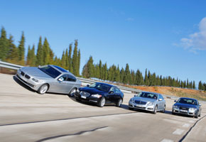 Audi A6 vs BMW 530d, Jaguar XF  y Mercedes E 350