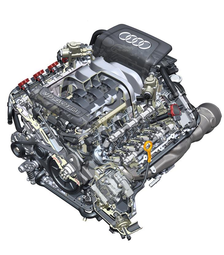 El motor V8 con inyección directa de gasolina desarrolla 350 CV de potencia.